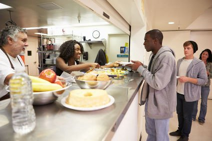 Catering Staff Serving Food in Canteen
